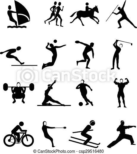 スポーツ, 人々, セット, アイコン - csp29516480