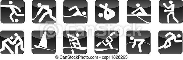 スポーツ, 黒, アイコン - csp11828265