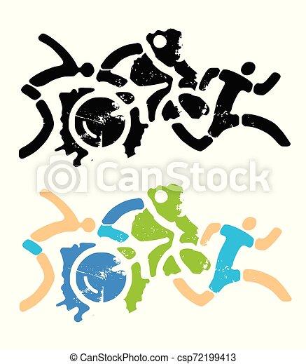 スポーツ, triathlon, icons., グランジ, フィットネス, stylizes - csp72199413
