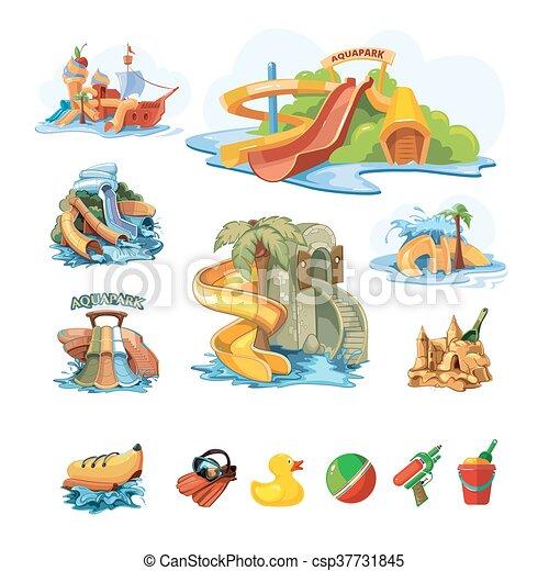 スライド, aquapark, セット, 水, icion - csp37731845