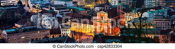 スロベニア, 光景, 航空写真, ljubljana, 夜 - csp42833304