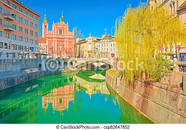 スロベニア, 3倍になりなさい, ljubljana, 都市の景観, 大聖堂, ljubljanica, 川, 橋 - csp82647852
