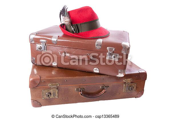 スーツケース, 型, ババリア人, 2, 帽子, 伝統 - csp13365489