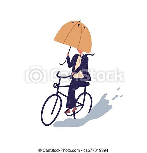 スーツ, 隔離された, バックグラウンド。, 平ら, 水たまり, 日, 傘, 漫画, 方法, 白, ベクトル, 自転車, 秋, マレ, 自転車に乗ること, 克服, 人, 乗車, ビジネスマン, 下に, サイクリング, 雨, illustration., obstacles. - csp77019394