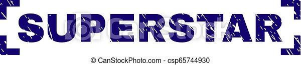 スーパースター, 切手, コーナー, 中, textured, シール, グランジ - csp65744930