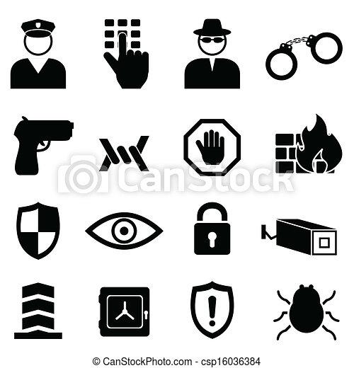セキュリティー, セット, 安全, アイコン - csp16036384