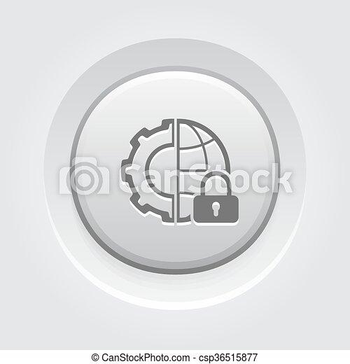 セキュリティー, 世界的である, アイコン - csp36515877