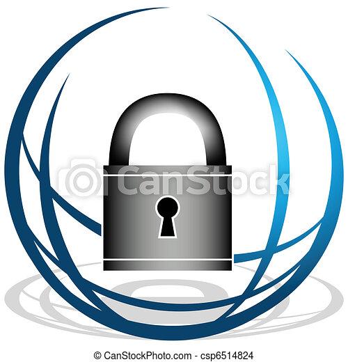 セキュリティー, 世界的である, アイコン - csp6514824