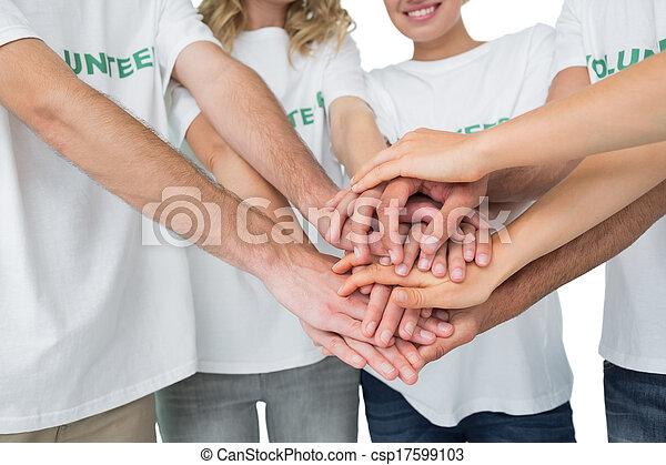 セクション, 手, ボランティア, 中央の, 一緒に - csp17599103