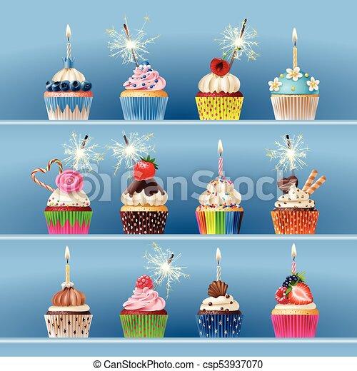 セット, おいしい, cupcake - csp53937070