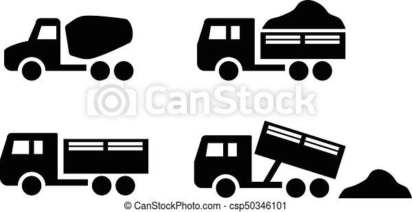 セット, アイコン, ミキサー, コンクリート, トラック, ダンパ - csp50346101