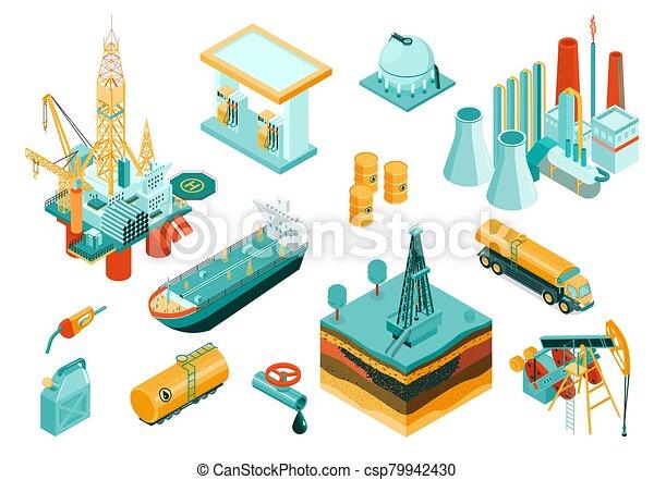 セット, アイコン, 産業, 等大, オイル - csp79942430