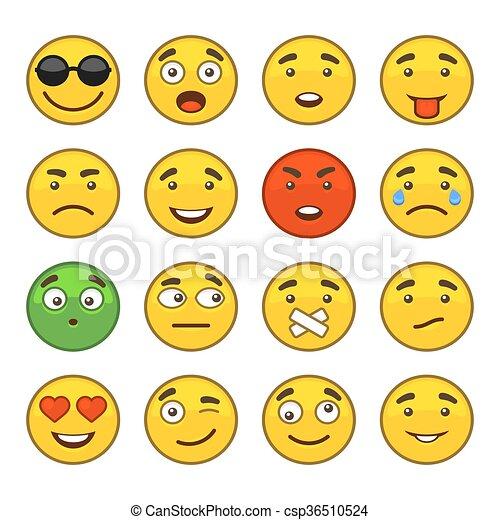 セット, アイコン, set., ベクトル, 微笑, emoji - csp36510524
