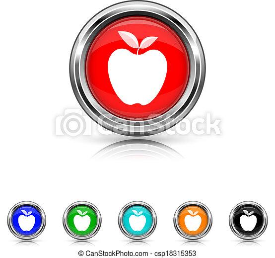 セット, アップル, 6, -, 色, アイコン - csp18315353
