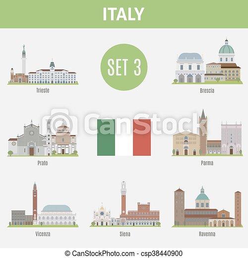 セット, イタリア, 場所, 有名, 3, cities. - csp38440900