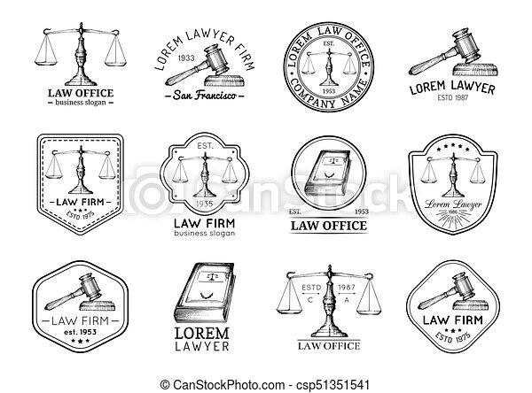 セット, オフィス, スケール, 型, 提唱者, labels., ∥など∥, ベクトル, 正義, 小槌, アイコン, 弁護士, 法律, illustrations. - csp51351541