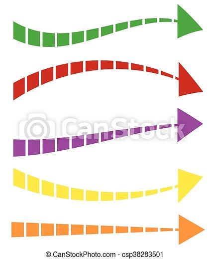 セット, カラフルである, shapes., 矢, 5, 矢, 長い間, 横 - csp38283501