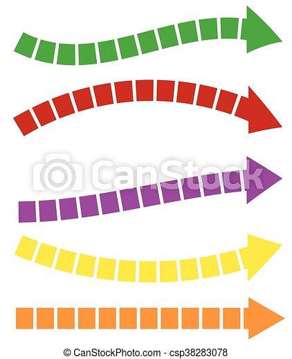 セット, カラフルである, shapes., 矢, 5, 矢, 長い間, 横 - csp38283078