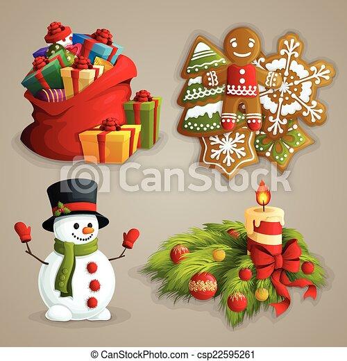 セット, クリスマス, アイコン - csp22595261