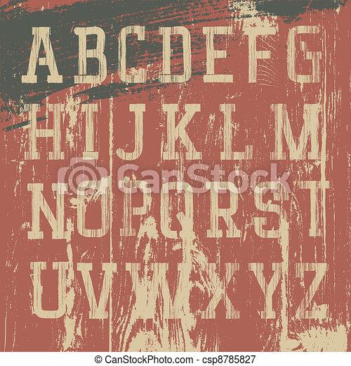 セット, グランジ, アルファベット, 型, ベクトル, 西部 - csp8785827