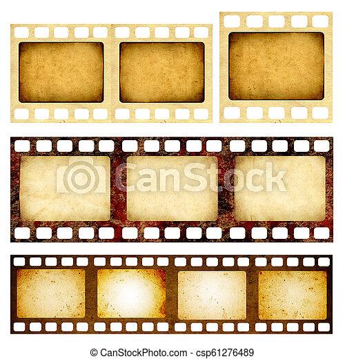 セット, グランジ, 手ざわり, filmstrips, ペーパー, レトロ - csp61276489