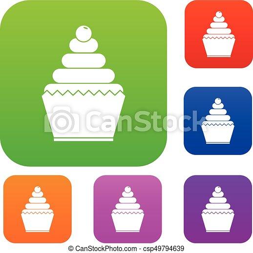 セット, コレクション, cupcake - csp49794639
