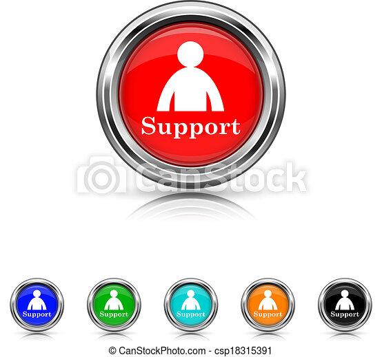 セット, サポート, 6, -, 色, アイコン - csp18315391