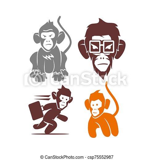 セット, サル, ベクトル, ロゴ, イラスト, テンプレート, デザイン, 接眼レンズ - csp75552987