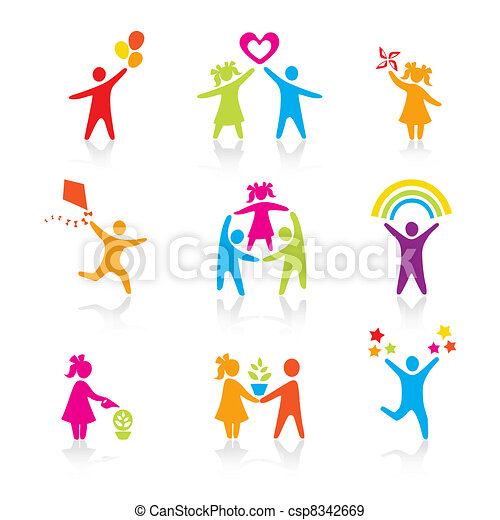 セット, シルエット, 人々, 子供, 人, アイコン, -, シンボル。, 男の子, 女, 女の子, 親, 父, vector., family., 母, 子供 - csp8342669