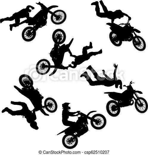 セット, シルエット, 実行, トリック, オートバイ, 背景, 白, ライダー - csp62510207