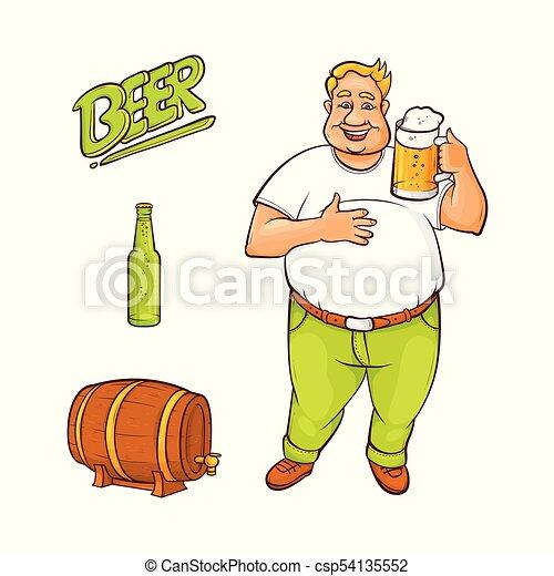 セット, シンボル, ビール, ベクトル, 恋人, 漫画 - csp54135552
