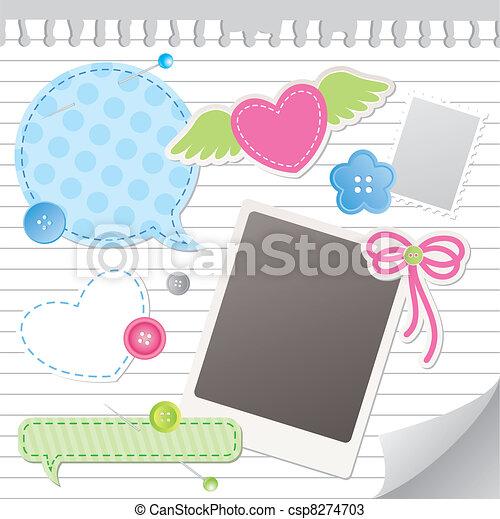 セット, スクラップブック, 要素 - csp8274703