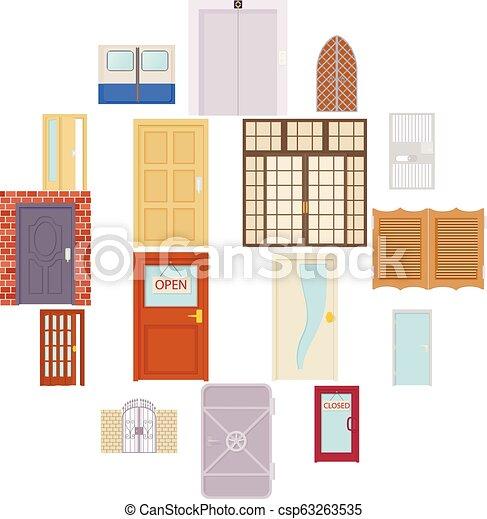 セット, スタイル, ドア, 漫画, アイコン - csp63263535