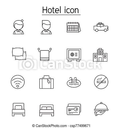 セット, スタイル, 薄いライン, ホテル, アイコン - csp77499671