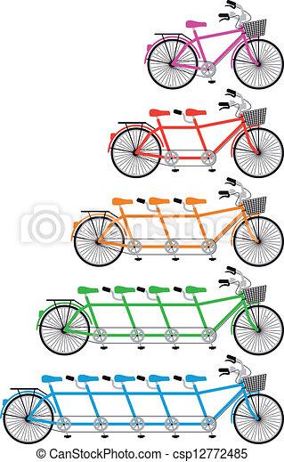 セット, タンデム自転車, ベクトル - csp12772485