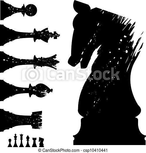 セット, チェス, グランジ - csp10410441