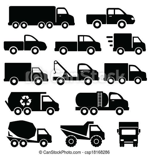 セット, トラック, アイコン - csp18168286