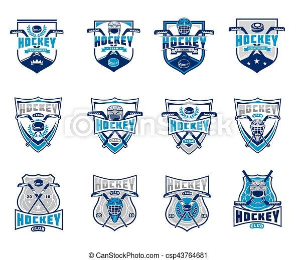 セット, バッジ, 氷, 紋章, ベクトル, ホッケー, ステッカー - csp43764681