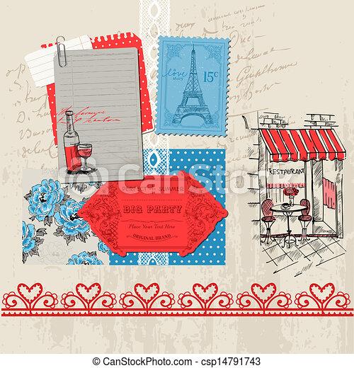 セット, パリ, 型, -, ベクトル, デザイン, スクラップブック, 要素 - csp14791743