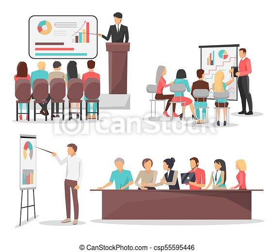 セット ビジネス アイコン イラスト ベクトル ミーティング 訓練