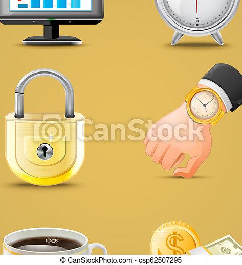 セット, ビジネス アイコン, 大きい, イラスト, ベクトル - csp62507295