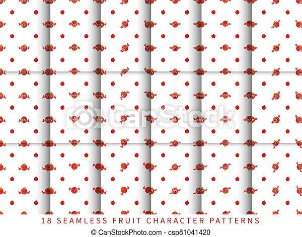 セット, フルーツ, かわいい, 隔離された, 白, 特徴, 背景 パターン, 漫画, seamless, ベクトル, アップル - csp81041420