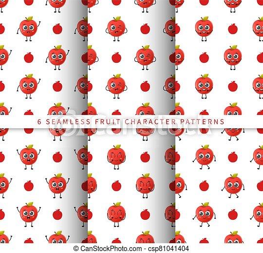 セット, フルーツ, かわいい, 隔離された, 白, 特徴, 背景 パターン, 漫画, seamless, ベクトル, アップル - csp81041404