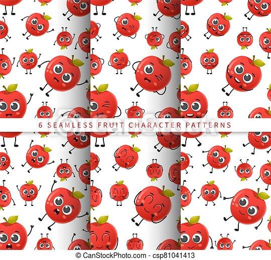 セット, フルーツ, かわいい, 隔離された, 白, 特徴, 背景 パターン, 漫画, seamless, ベクトル, アップル - csp81041413