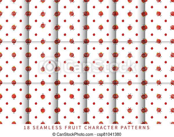 セット, フルーツ, かわいい, 隔離された, 白, 特徴, 背景 パターン, 漫画, seamless, ベクトル, アップル - csp81041380