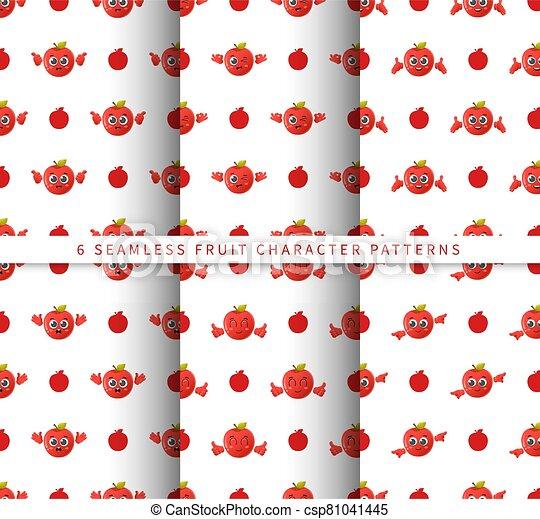 セット, フルーツ, かわいい, 隔離された, 白, 特徴, 背景 パターン, 漫画, seamless, ベクトル, アップル - csp81041445