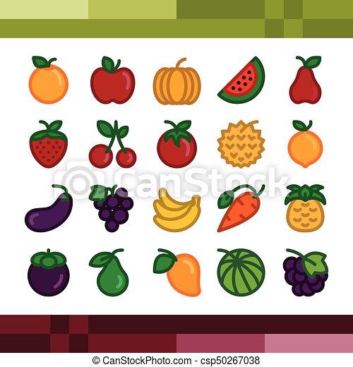 セット, フルーツ, illustration., ベクトル, アイコン - csp50267038