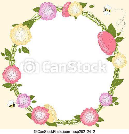 セット フレーム 花輪 イラスト ベクトル レトロ 結婚式 花 花