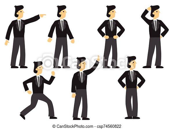 セット, ベクトル, 表現, pose., 隔離された, 別, ビジネスマン, 7, illustration. - csp74560822