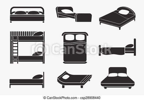 セット, ベッド, アイコン - csp28908440